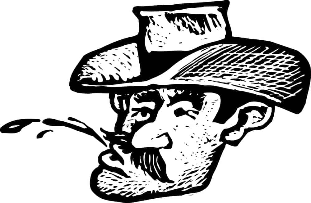 Drawing of man spitting chew
